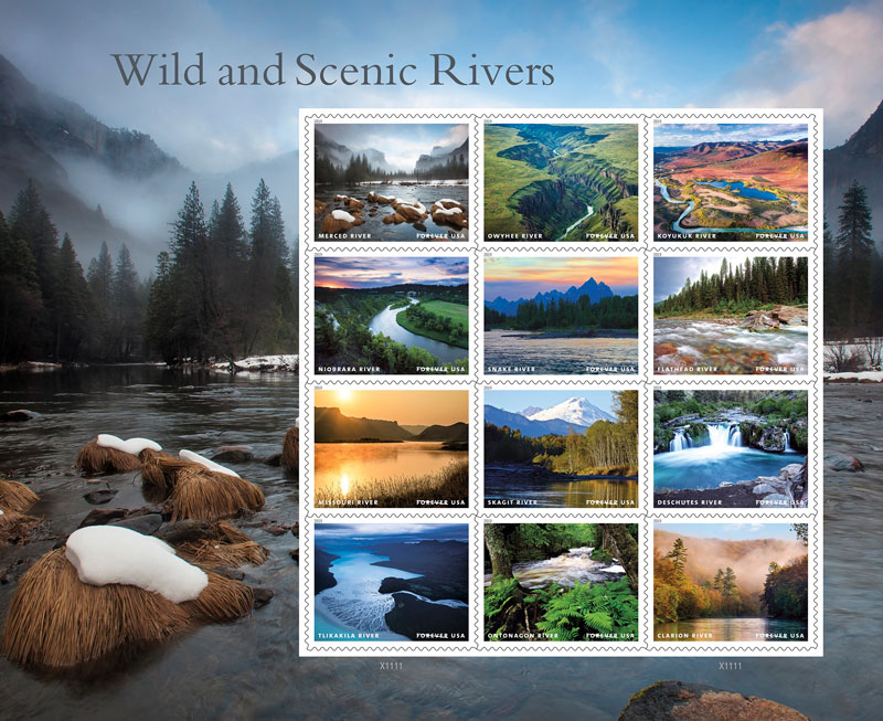 Collection of U.S. postage stamps of rivers