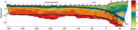 2-D velocity model of oceanic crust and upper mantle of Juan de Fuca plate