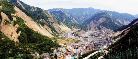 Beichuan town was devastated by landslides following the 2008 Wenchuan earthquake