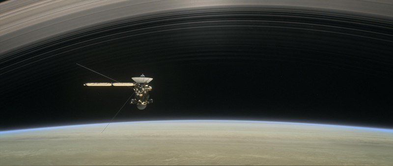 Illustration of the Cassini spacecraft between Saturn and its rings