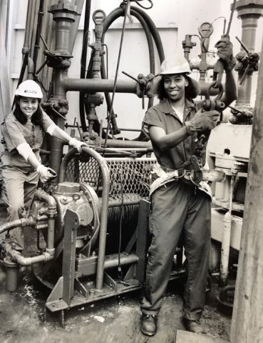 Marine geologist Dawn Wright and coworker on research ship
