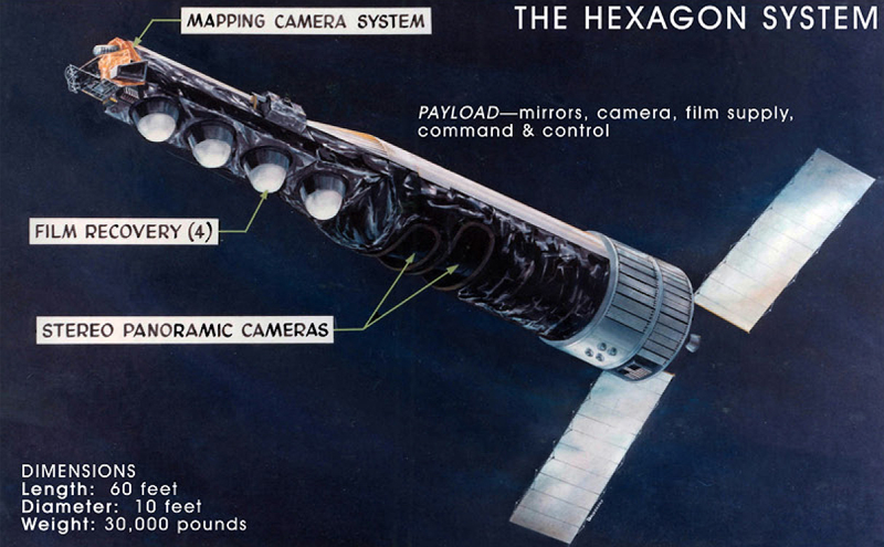 Drawing of the KH-9 Hexagon satellite