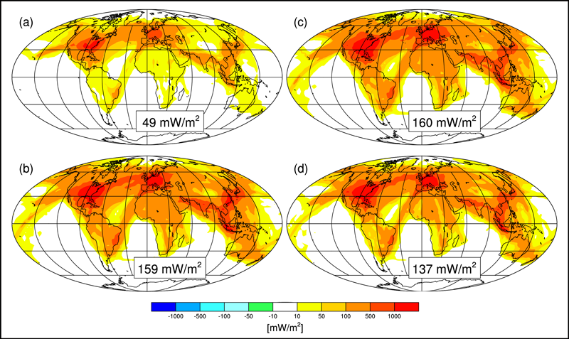 Four global maps with colors showing radiative forcing from contrails