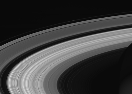 Black-and-white satellite image of Saturn's rings