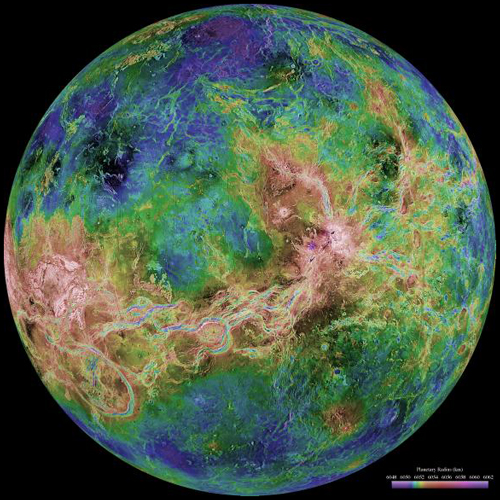 False-color topographic map of Venus