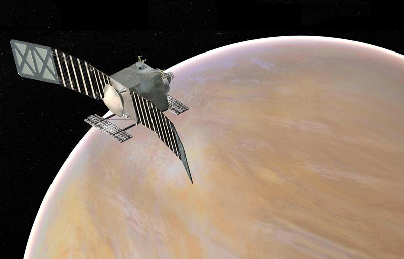 Illustration of a spacecraft orbiting Venus