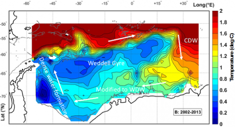 Map showing temperatures at the subsurface temperature maximum based on Argo float data