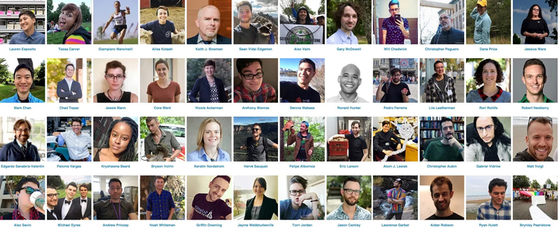 Headshots of scientists in the 500 Queer Scientists database