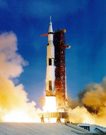 Rocket launching on launchpad