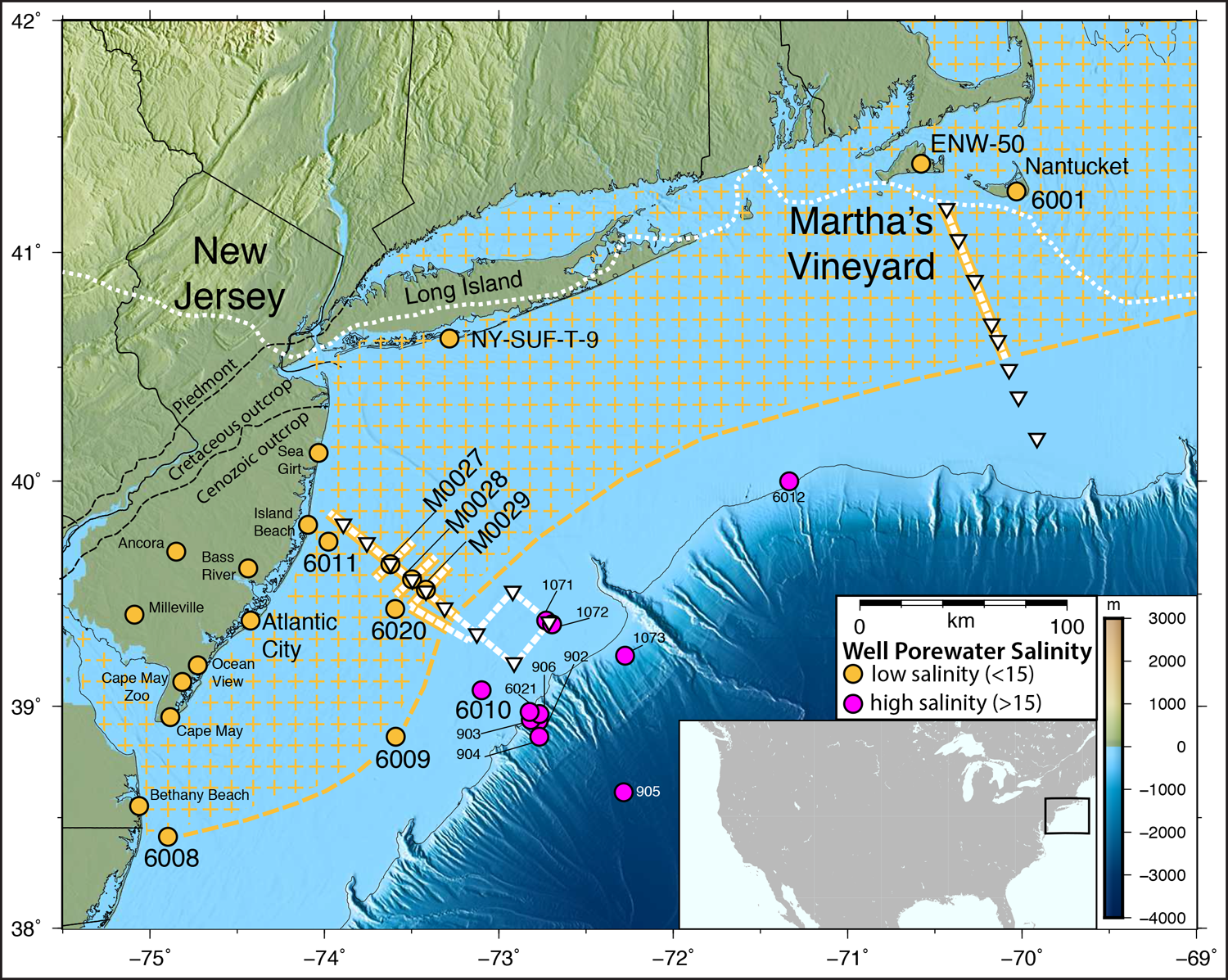 Map of the U.S. East Coast showing two transect lines where a team imaged under the seafloor and found pockets of fresh water that may be connected into a huge aquifer system