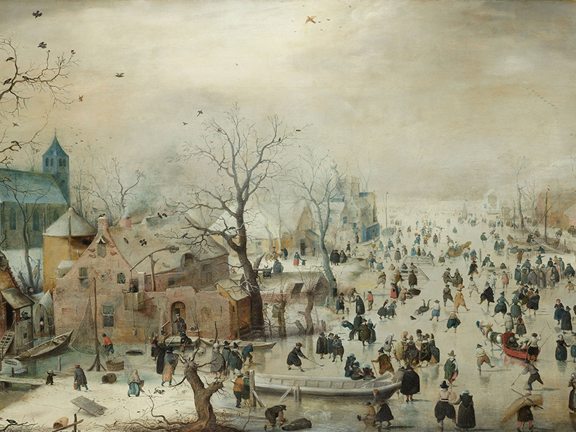 Painting of a winter landscape in Europe circa 1608 by Hendrick Avercamp