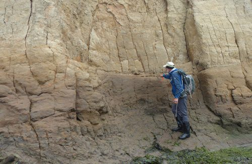 Geologist points at a rock feature in a cliff.