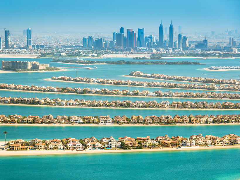 Homes built at sea level on Palm Jumeirah island, Dubai