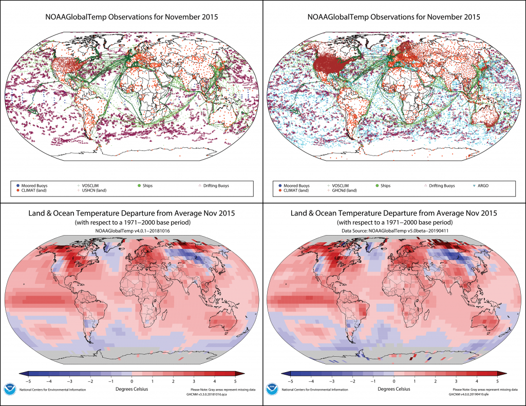 NOAAGlobalTemp visualization of land and ocean observations for November 2015, version 4 and version 5.