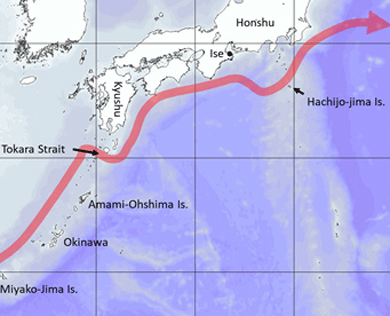 Map showing path of path of the Kuroshio Current near Japan