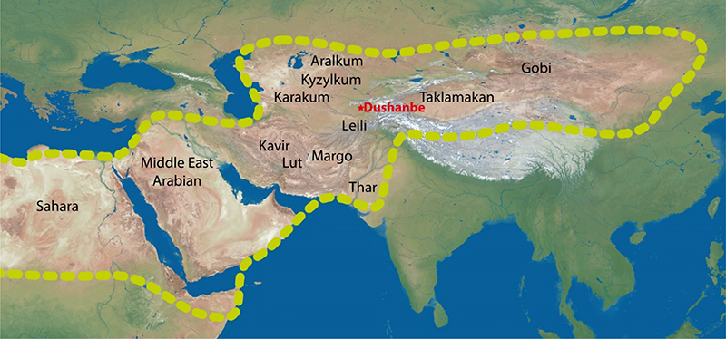 A map of the dust belt, which stretches from the Sahara desert in Africa to the Gobi desert in Central and East Asia