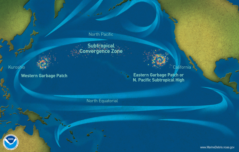 Map of the Great Pacific Garbage Patch