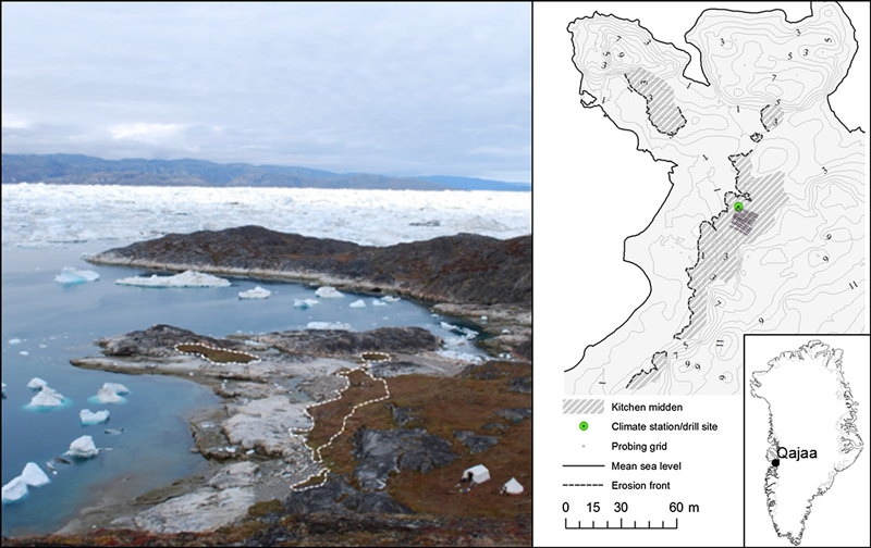 Photo and map of an icy coastal archaeological site.