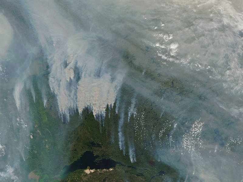 Satellite image of smoke from wildfires in Canada in 2017
