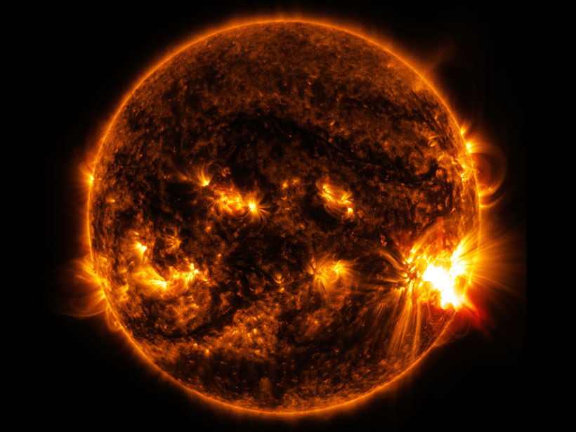 Image of the Sun with bright solar flares