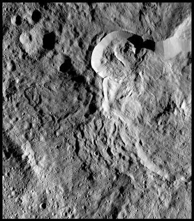 Photo of intermingling of landslide and ejecta material at the intersection of two craters