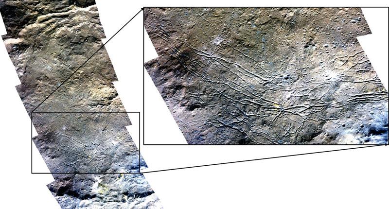 Large fractures on the floor of Dantu crater