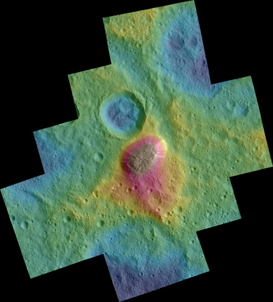Color topographic view of Ahuna Mons