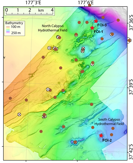 Map of the Calypso hydrothermal vent field indicating sites where researchers deployed acoustic devices