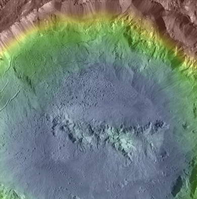 Topographic map of Haulani crater