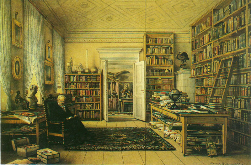 Humboldt sits in the library of his Berlin apartment in this mid-19th century painting by Eduard Hildebrandt