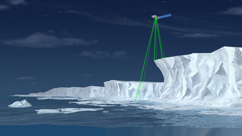 An artist's depiction of ICESat-2's multibeam configuration