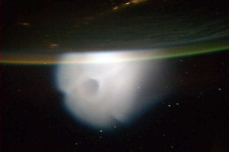 Astronaut Mike Hopkins photographed the plume of the 10 October 2013 missile launch as it expanded in the upper atmosphere.