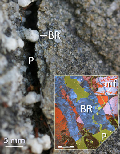 Cross‐section view of a fracture in Mesozoic sandstone with an inset cathodoluminescence photomicrograph of a quartz bridge