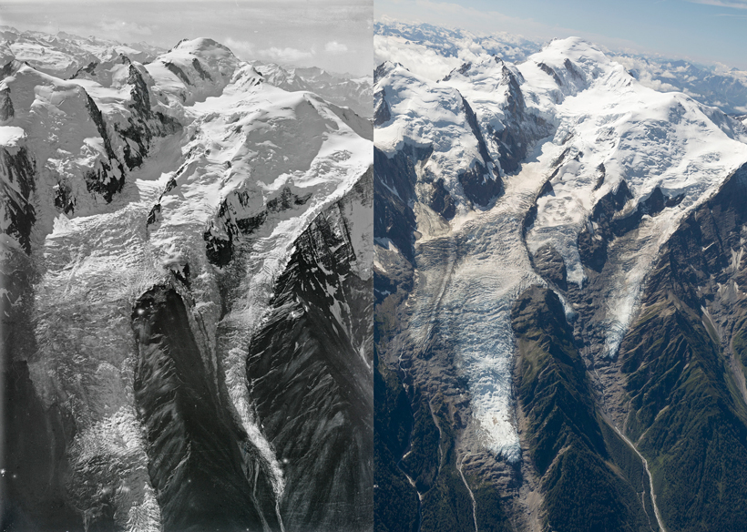 Aerial images of Bossons glacier taken in 1919 and 2019