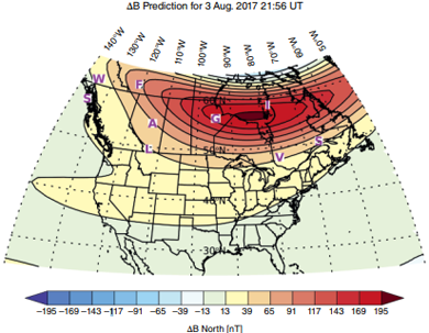 Map of magnetic field perturbations over North America