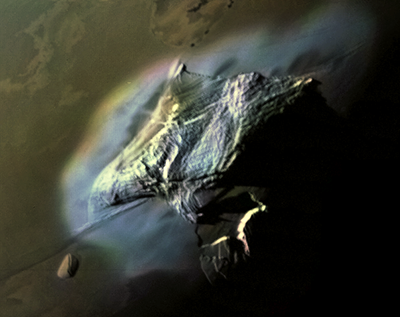 Haemus Mons, near the south pole of Io, as imaged by Voyager 1