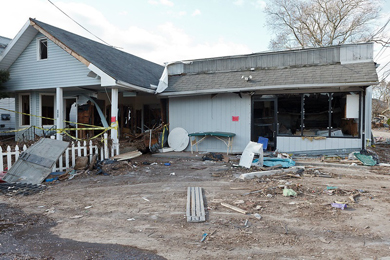 Destruction of property on Staten Island caused by Hurricane Sandy in 2012