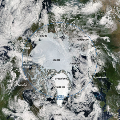 A true color image of the Arctic Boreal Zone from the NASA Aqua/Moderate Resolution Imaging Spectroradiometer