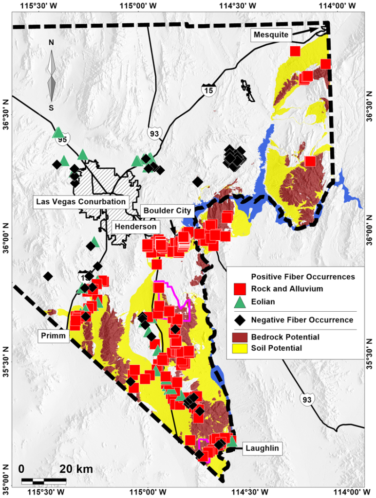 Map of Nevada identifying sites of naturally occurring asbestos
