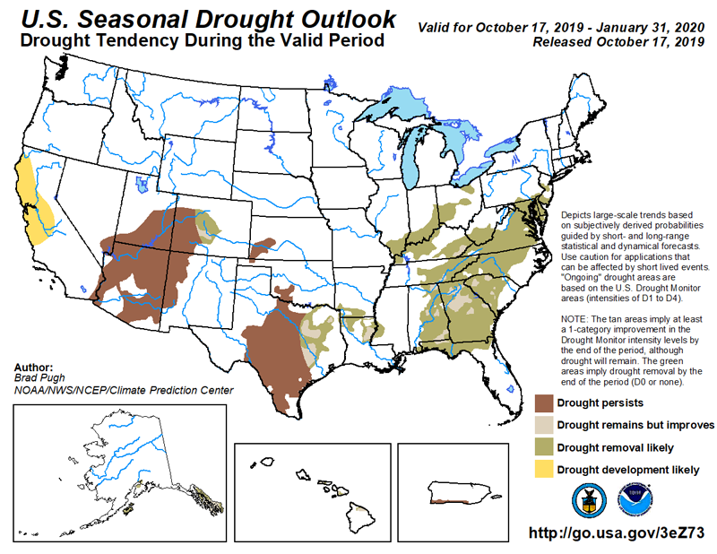 A map of the United States with predicted areas of drought in winter 2019