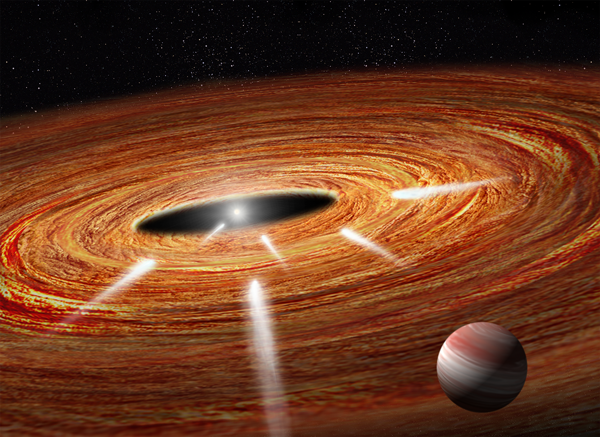 Illustration of exocomets hurled into their star in a growing planetary system.