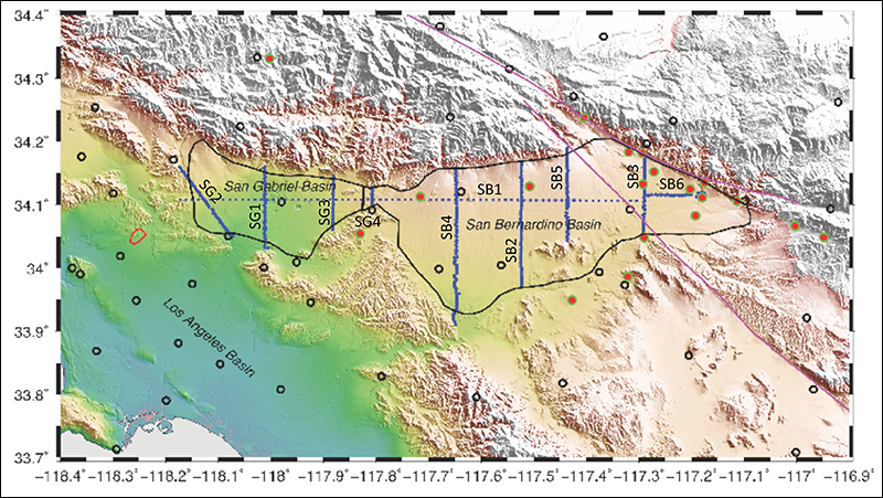 Map of the greater Los Angeles area showing the area covered by the Basin Amplification Seismic Investigation (BASIN) surveys