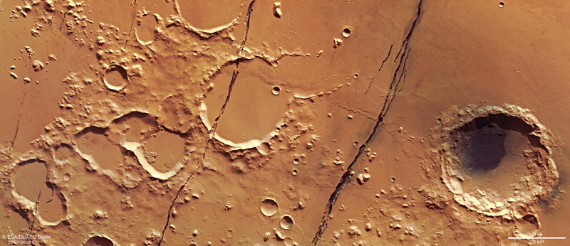 Fractures and craters in Mars's surface seen by satellite