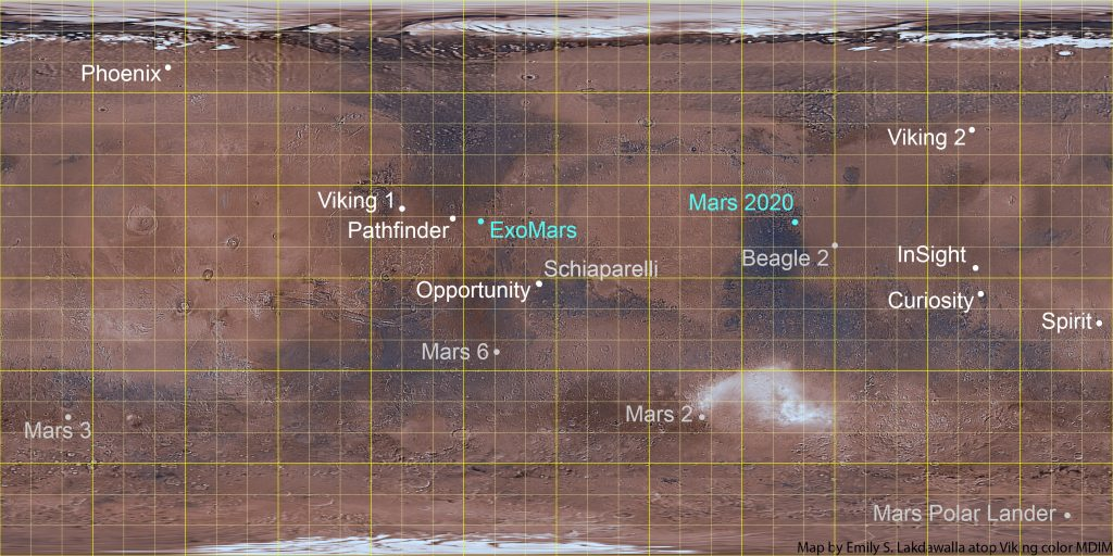 Map of Mars with landing sites of Mars missions marked