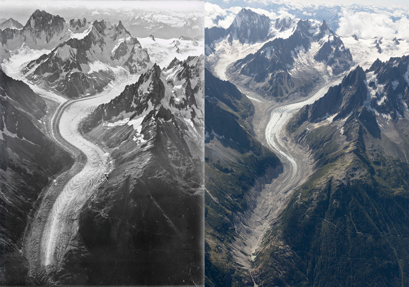 Aerial images of Mer de Glace glacier taken in 1919 and 2019