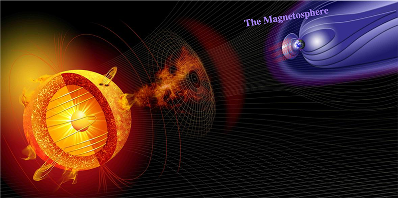 Illustration of the Sun emitting radiation and energy that reaches Earth's protective magnetosphere