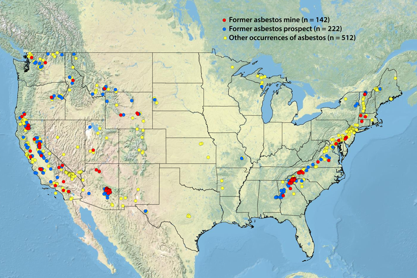 Map of the US identifying sites of naturally occurring asbestos