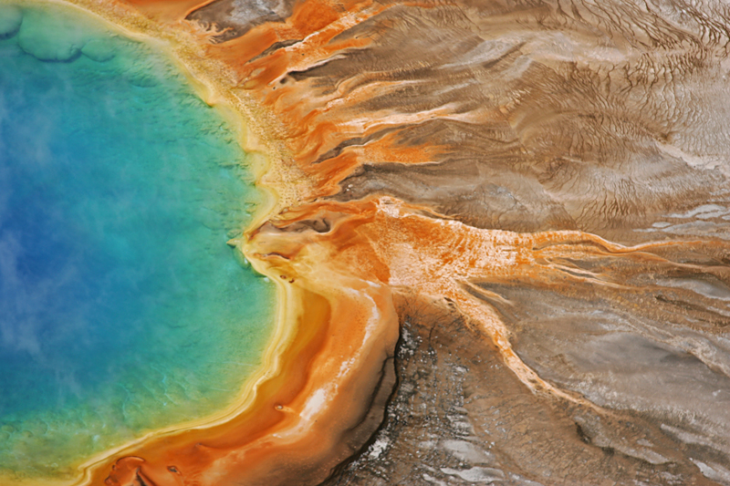 Aqua-and-orange edge of Yellowstone's Grand Prismatic Spring
