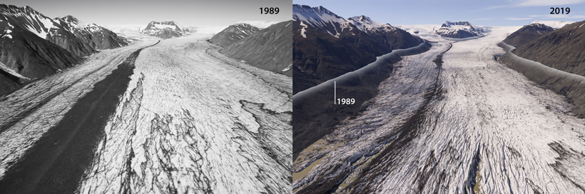 Heinabergsjökull glacier, seen from above, in 1989 (left) and 2019 (right)