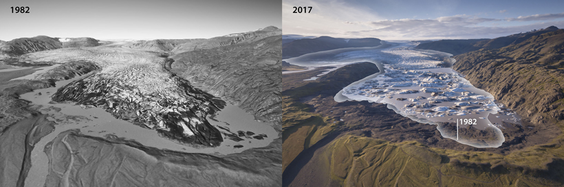 The terminus of the Hoffellsjökull glacier, seen in images from 1982 (left) and 2017 (right)